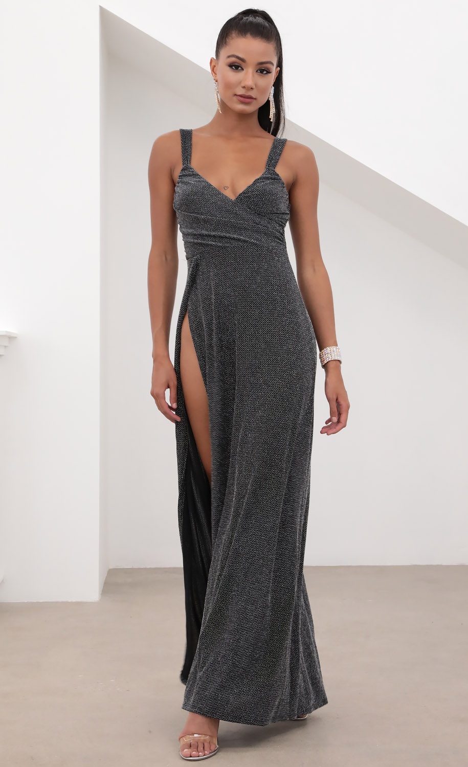 Sweetheart Ruched Maxi in Black Shimmer
