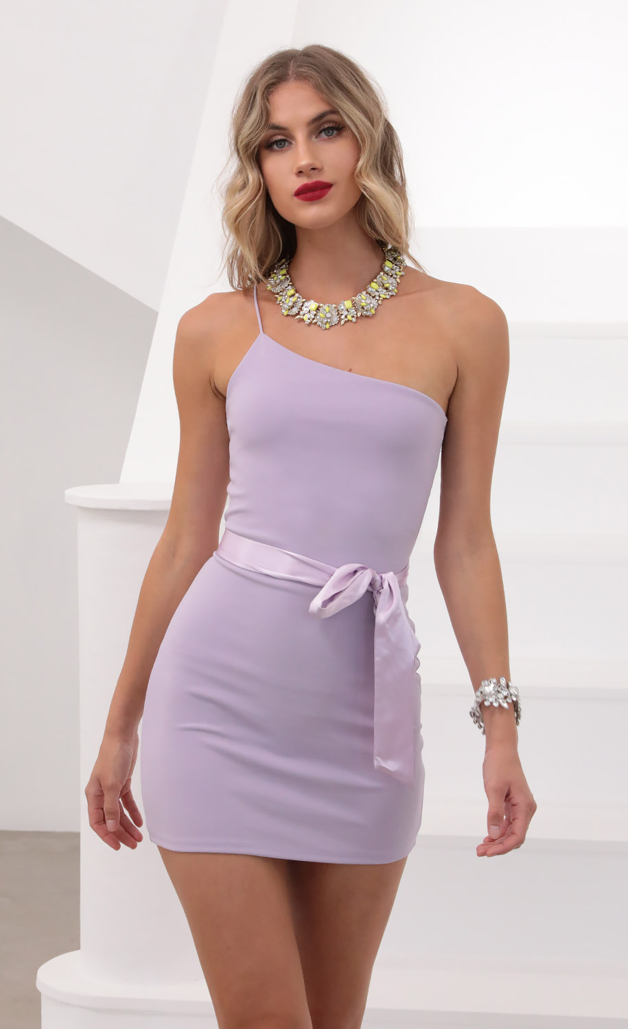 Giselle One Shoulder Bodycon Dress in Lilac