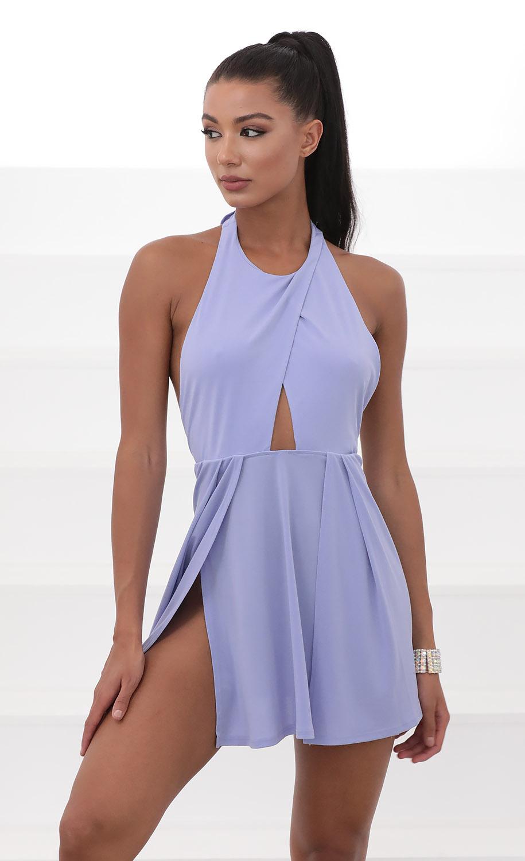 Halsey Halter Dress in Blue Violet