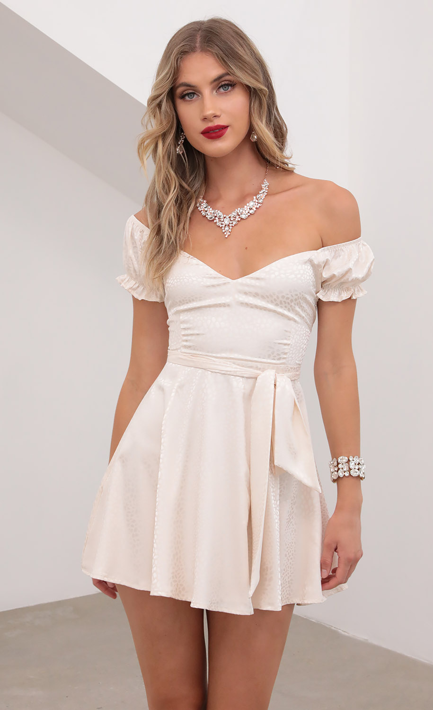 Laurena Mini Puff A-line Dress In Ivory