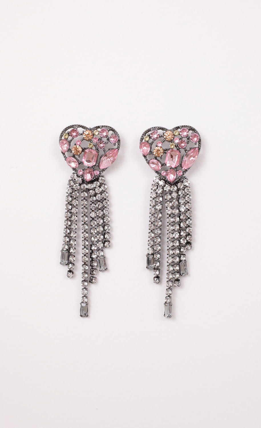 Mosaic Heart Crystal Earrings