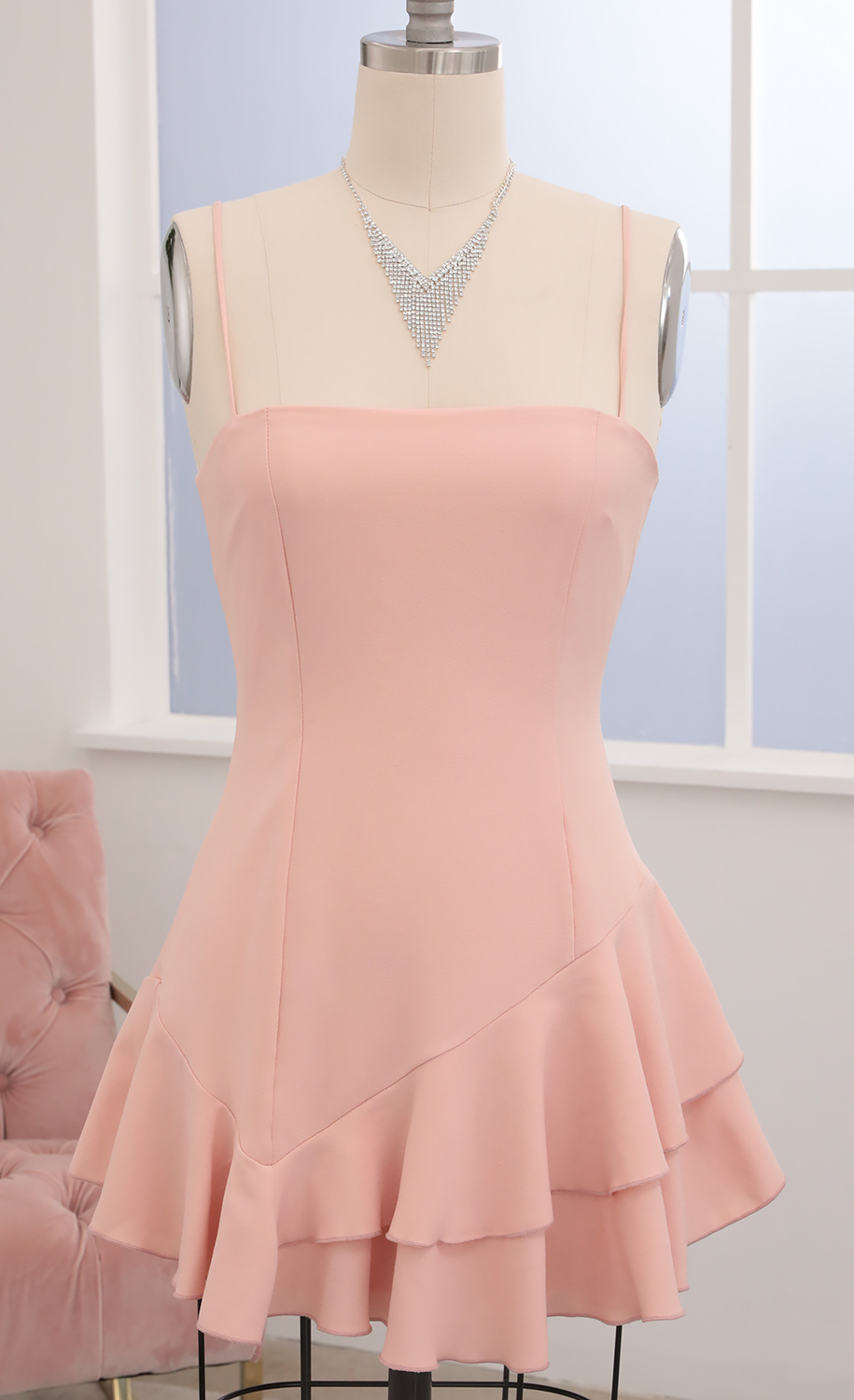 Azura Asymmetric Ruffle Dress in Blush