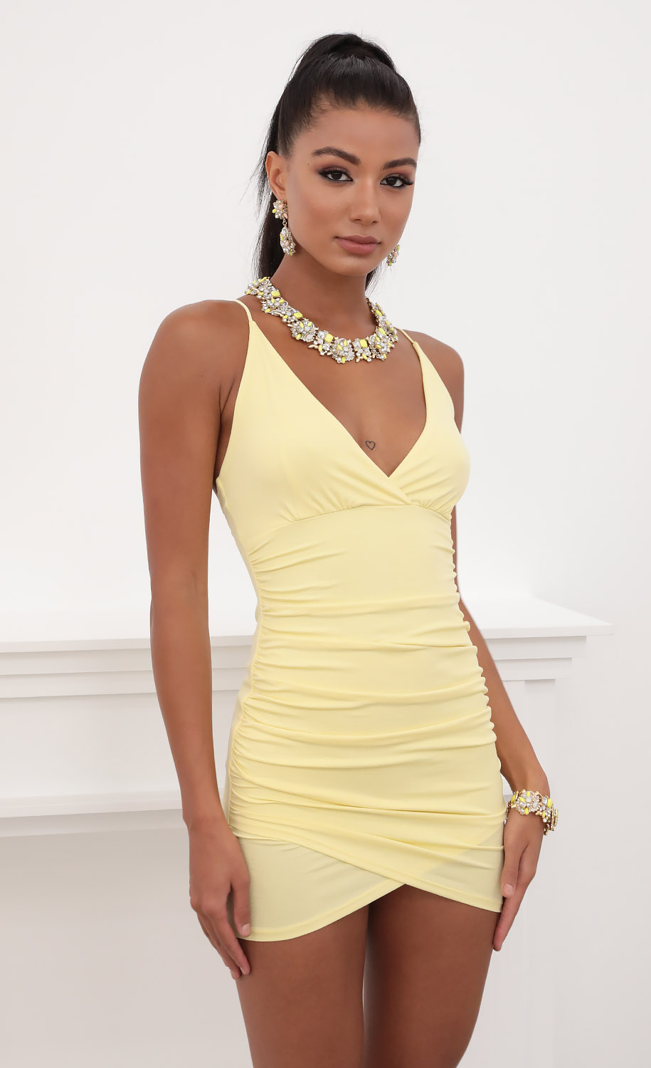 Holly Ruched Cross-Back Dress in Yellow