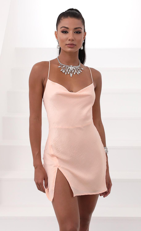 Willow Satin Slit Cowl Dress in Light Pink