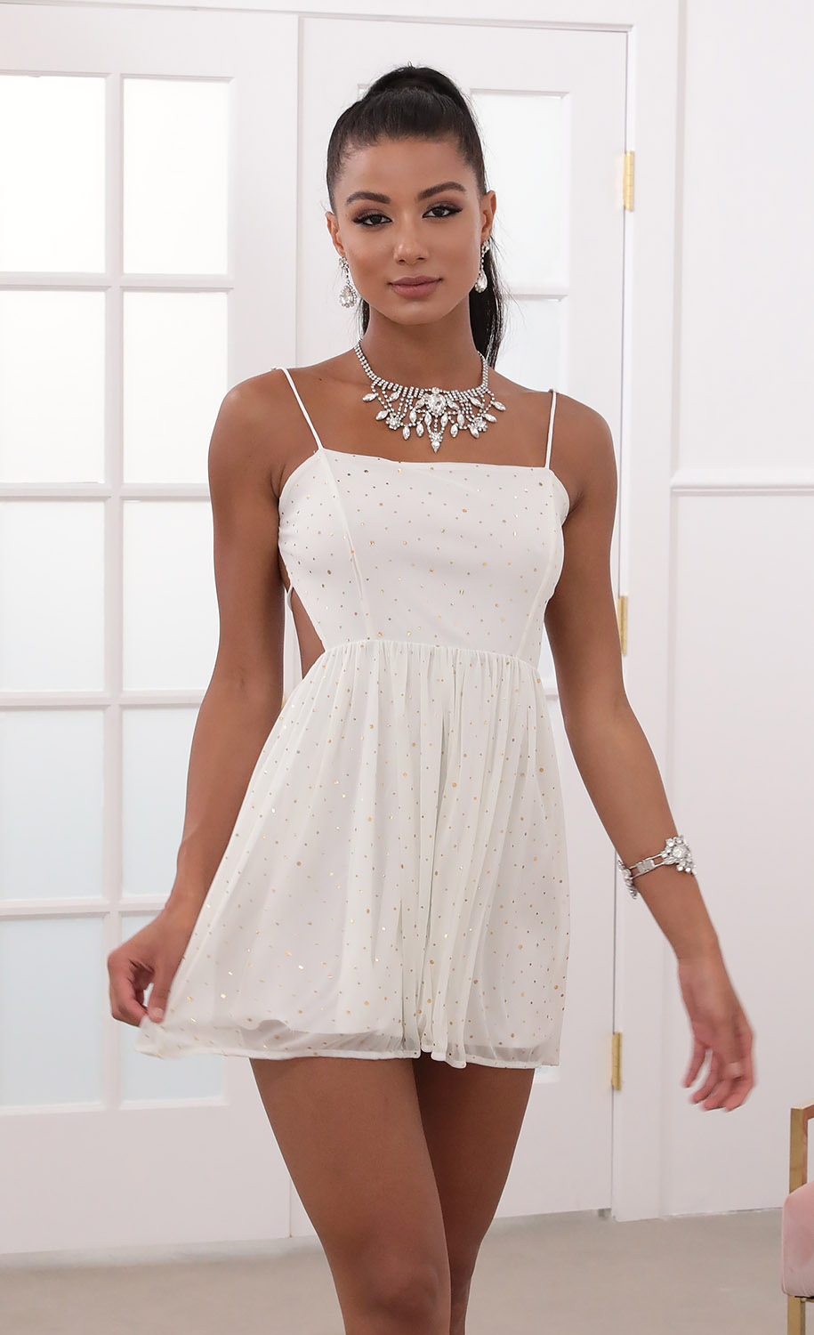 Jalissa A-line Dress in Ivory Gold