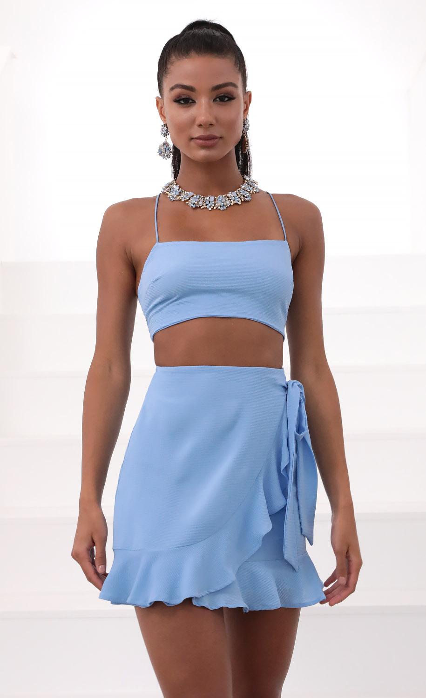 Kalani Ruffle Tie Set In Blue