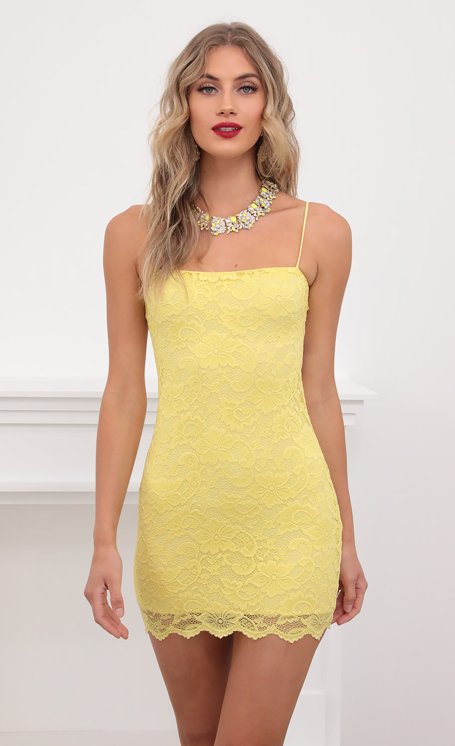 Kenna Scallop Tie-back Dress in Yellow