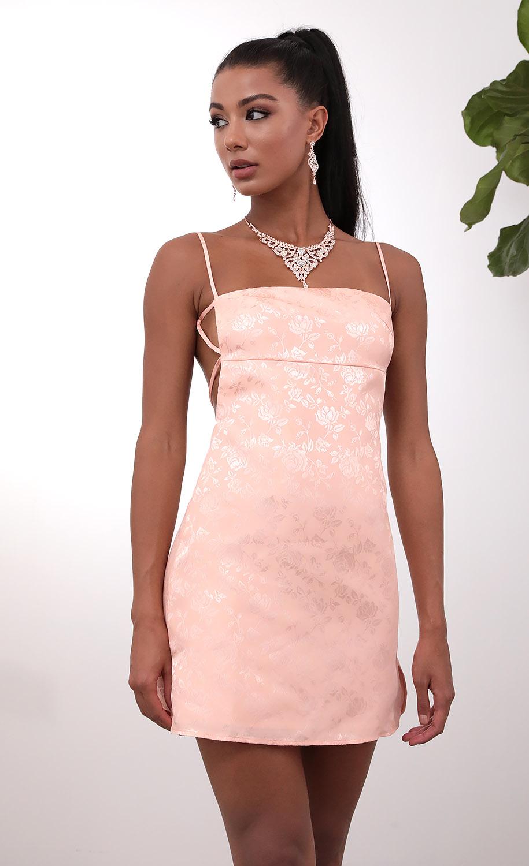 Bliss Floral Jacquard Slit Dress In Light Pink