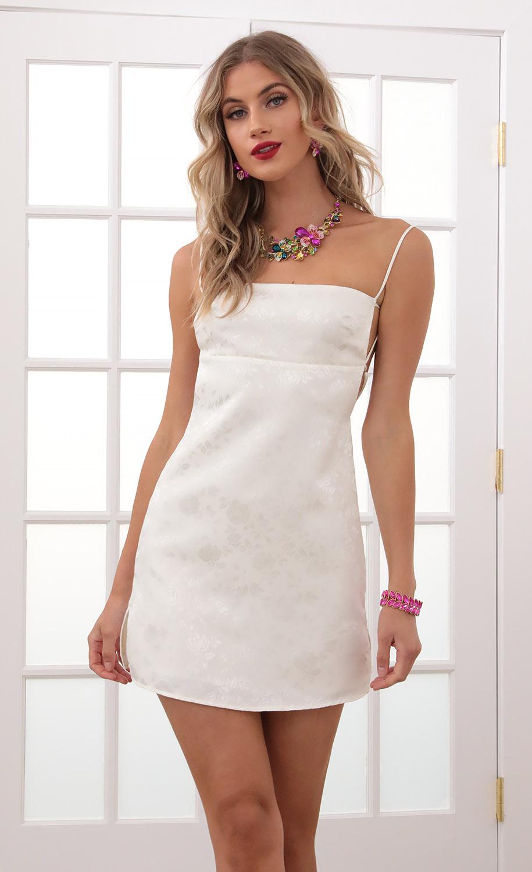Bliss Floral Jacquard Slit Dress In Ivory