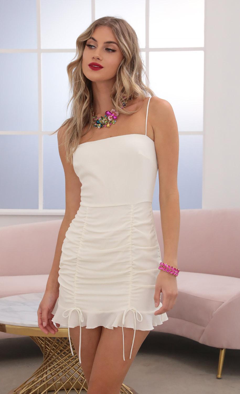 Emilee Ruffle Dress in Ivory