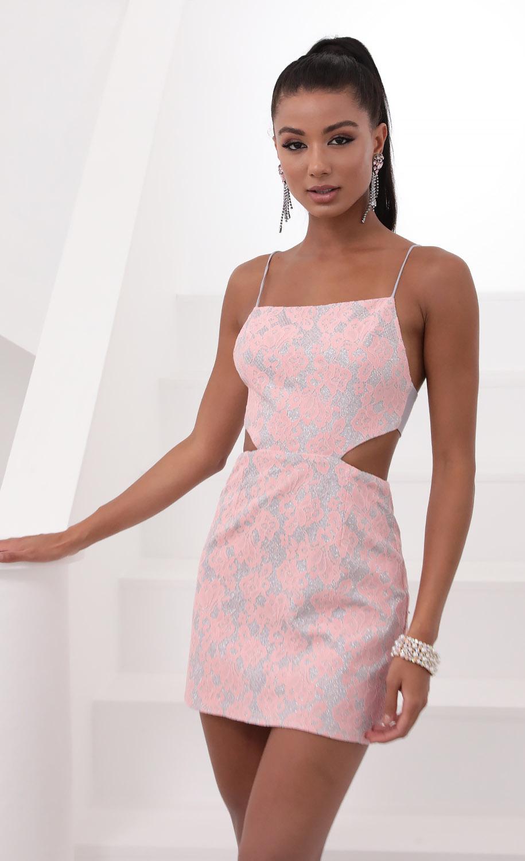 Lana Lace Cutout Dress in Pink
