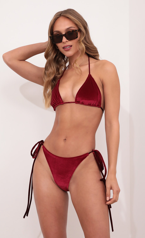 Mykonos Triangle Bikini Set in Burgundy Velvet