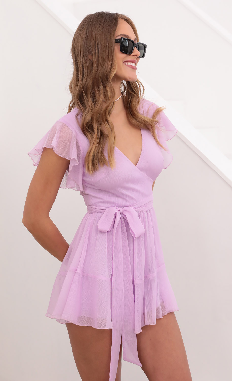 Nikki Wrap Romper in Lavender Crinkle Chiffon