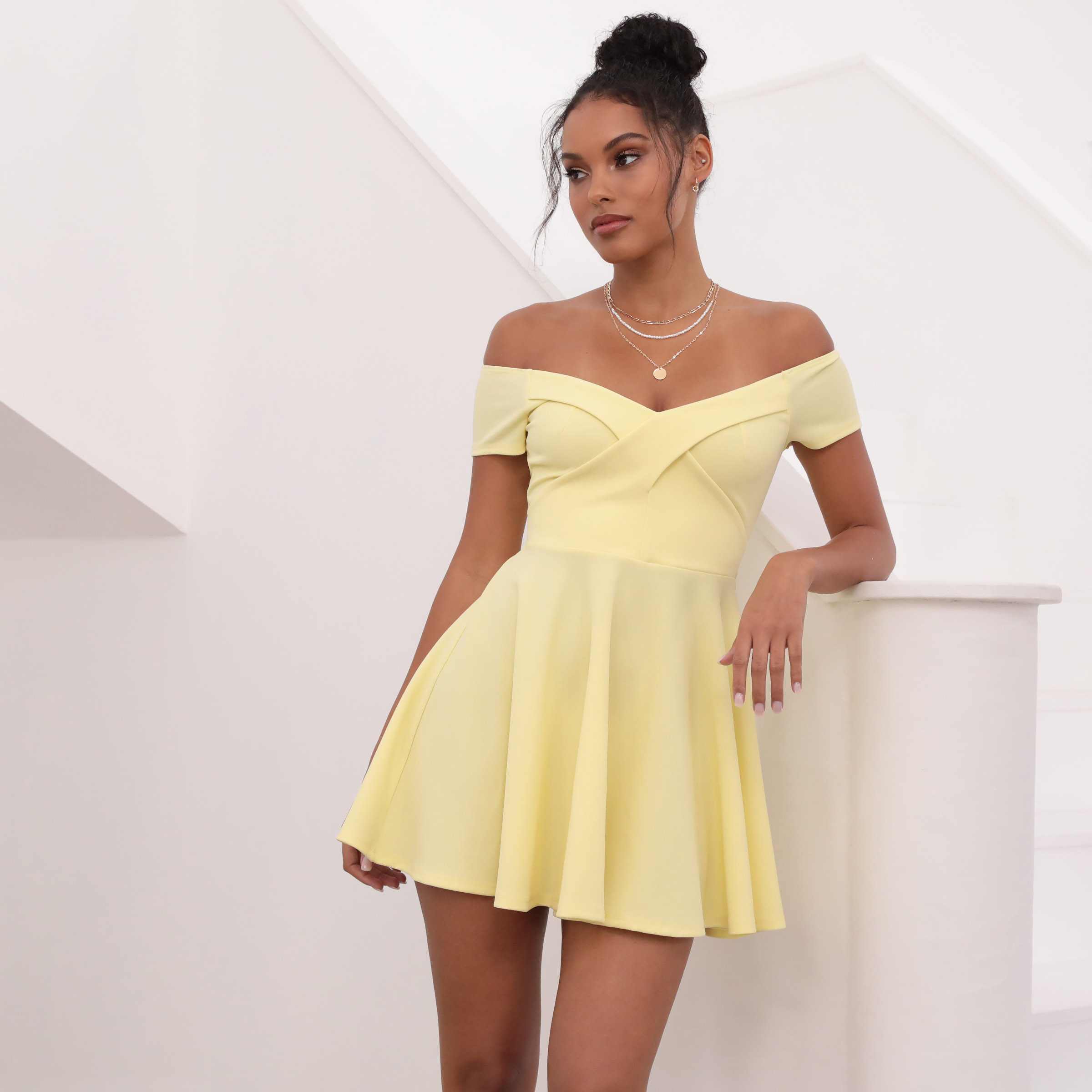 Ambrose Pleated A-line Dress in Yellow