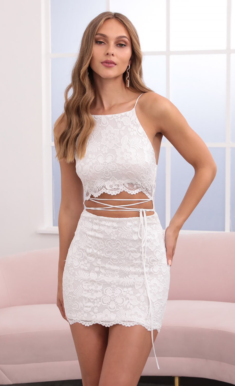 Meghan Halter Wraparound Tied Lace Dress in White