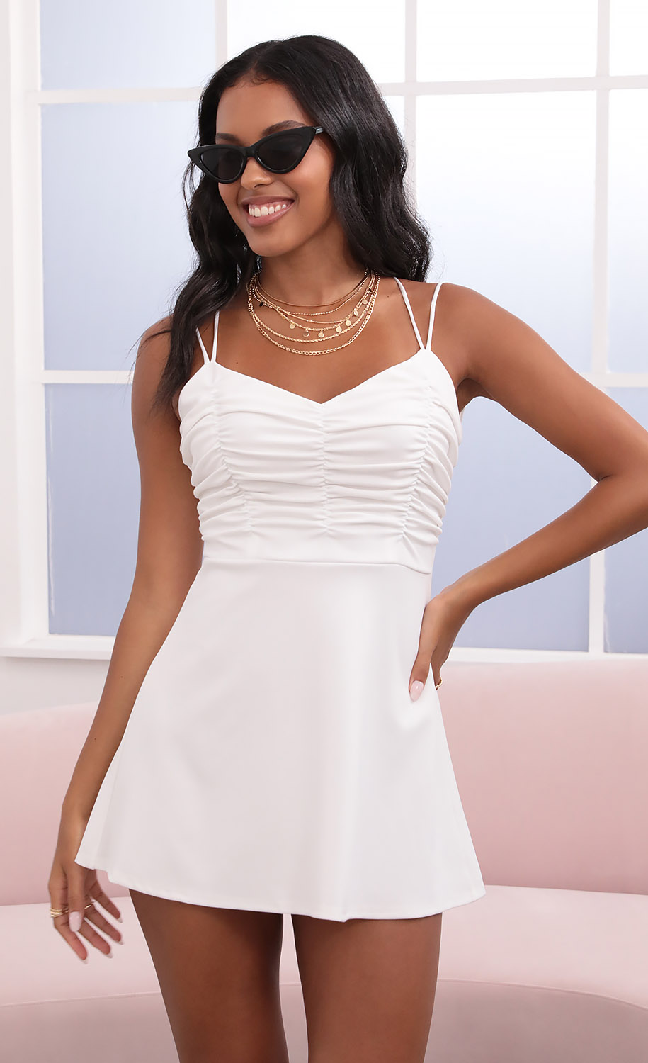 Este Ruched A-Line Dress in White