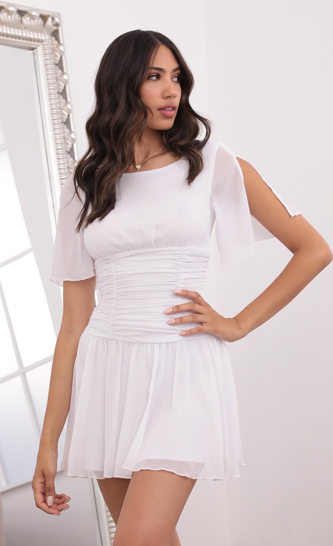 Renata Ruched Waist Dress in White