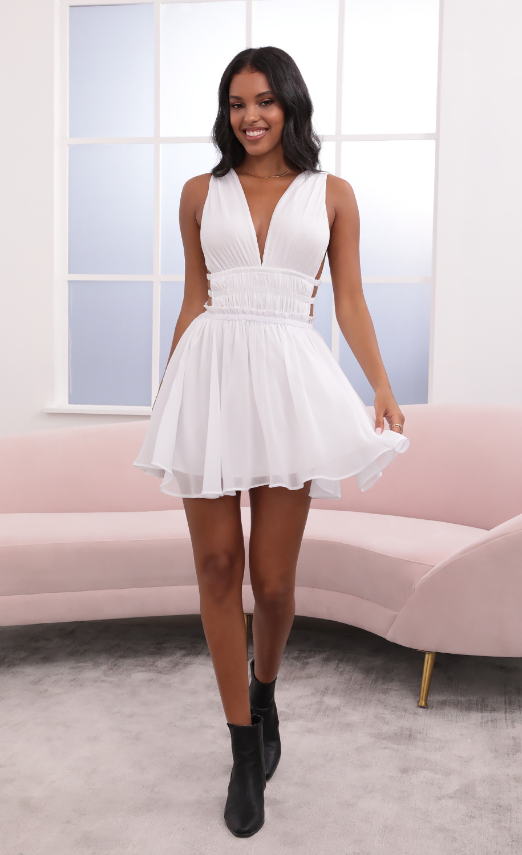 Babette Plunge A-Line Dress in White