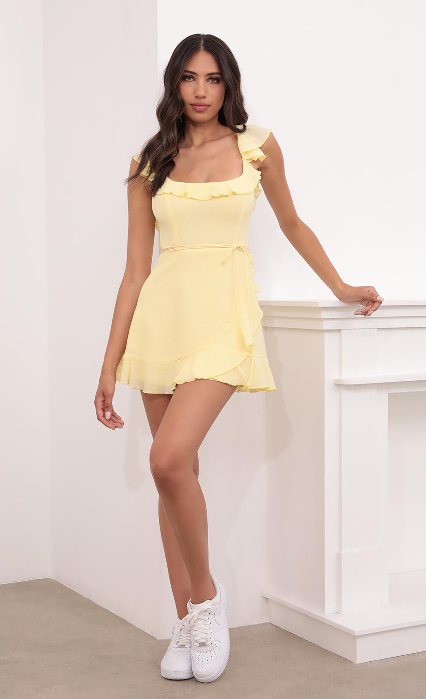 Lini Wrap Pebble Crepe Dress in Yellow