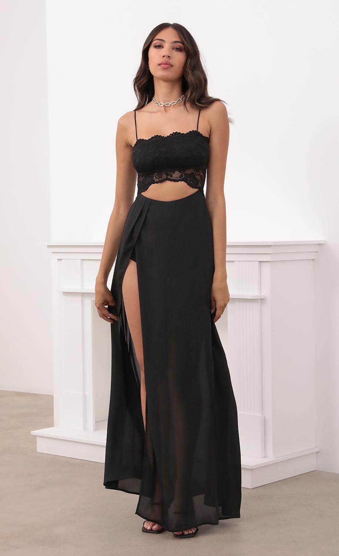 Janice Cutout Maxi Dress in Black Lace