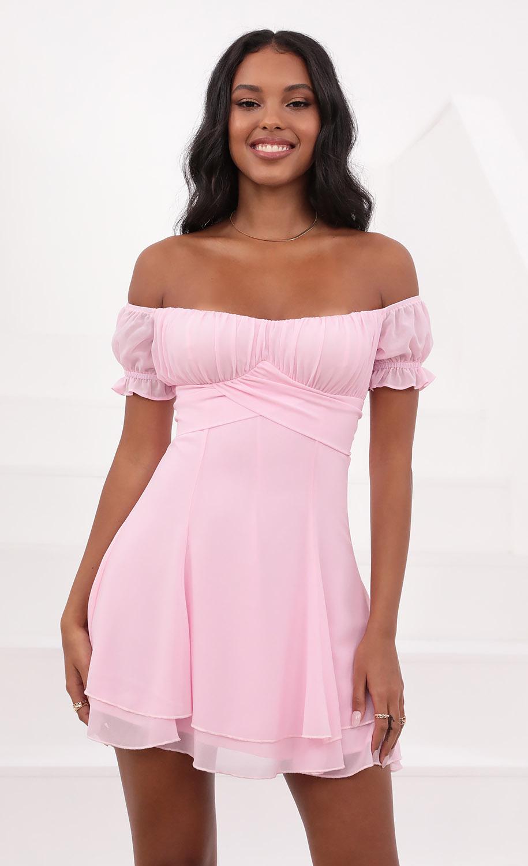 Estrella Dress in Chiffon Pink