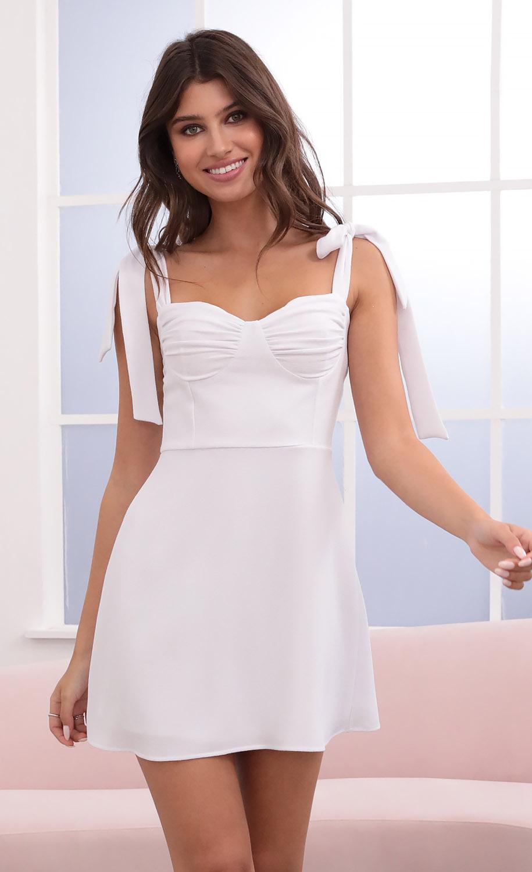 Neila Dress in White Crepe