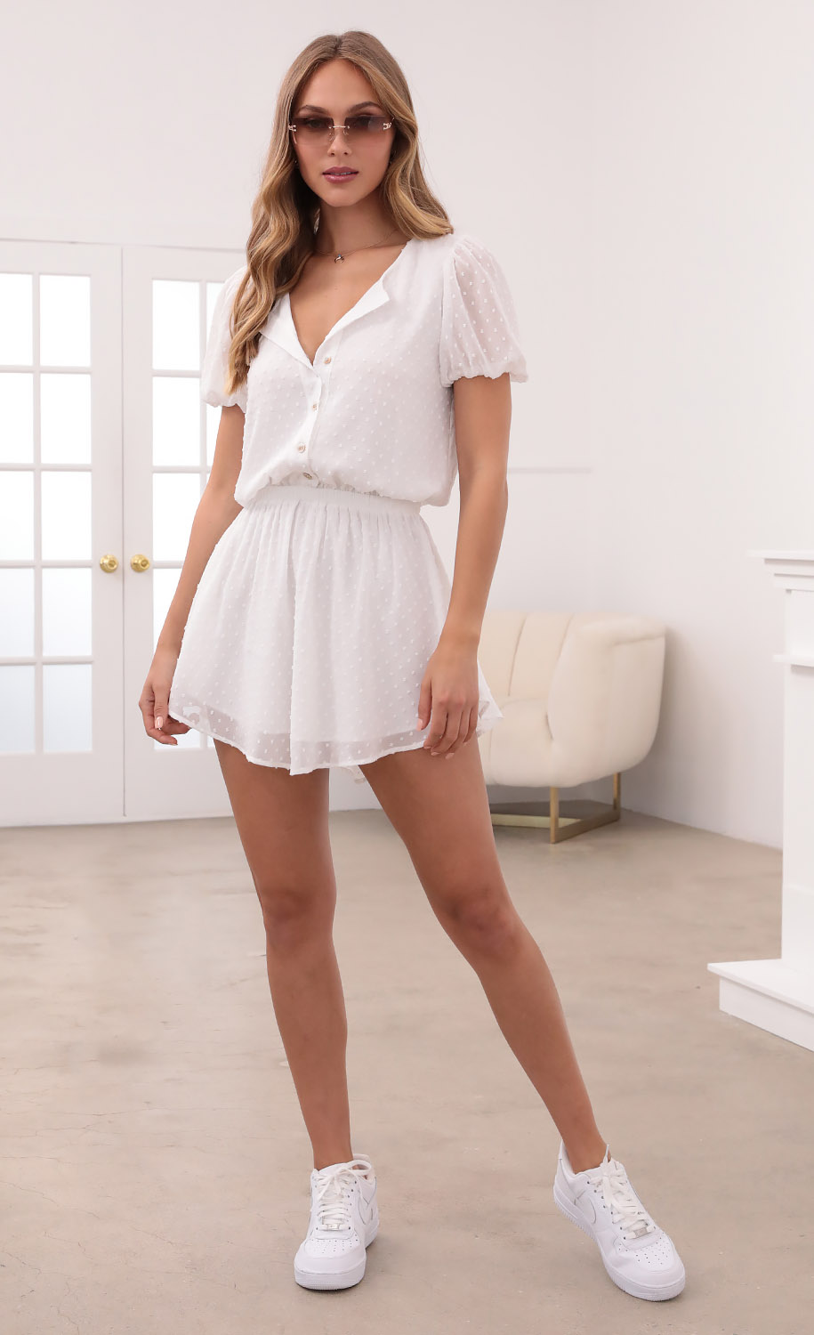 Izzy Button Down Dress in White Dotted Chiffon