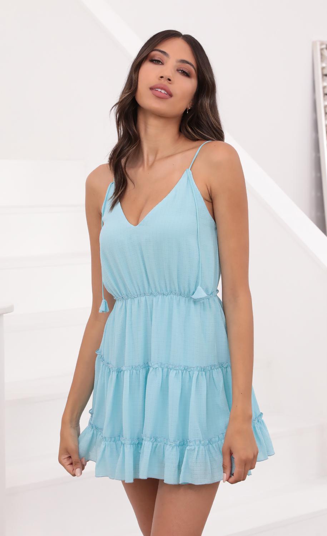 Ayumi Tassle V-Neck dress in Aqua