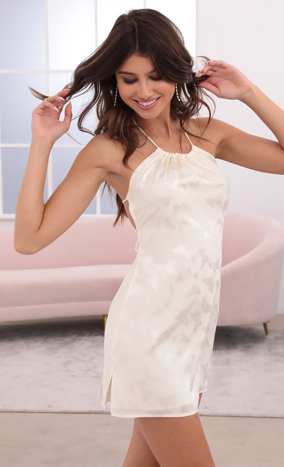 Agata Halter Dress in Off White Butterfly Jacquard
