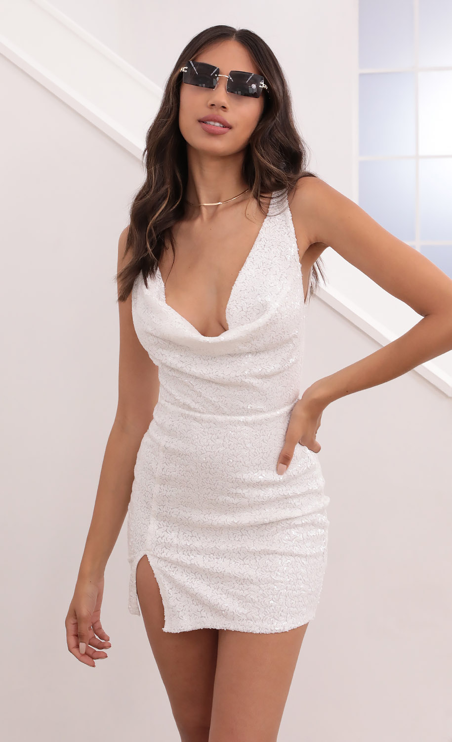 Donyale Cowl Neck Sequin Mini Dress in White