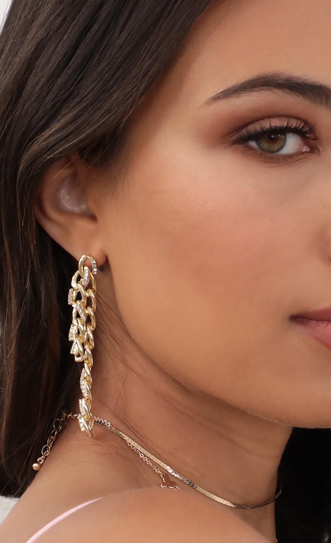 Embellished Double Cuban Chain Drop Earrings
