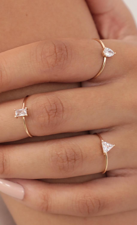 Geometric Cubic Zirconia Ring Set