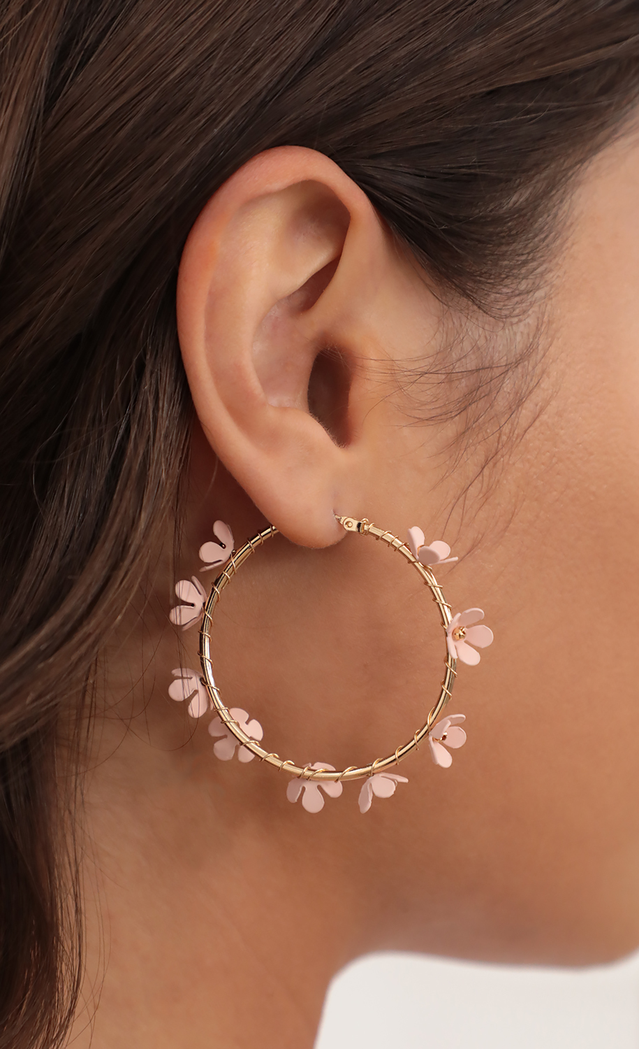 Flower Embellished Gold Hoops