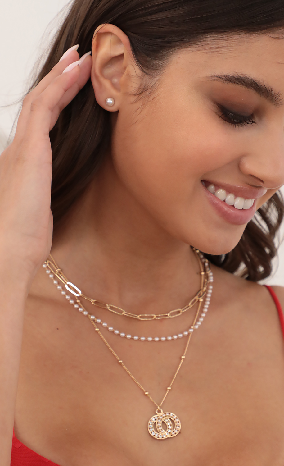 Pearl Interlocking Ring Necklace and Earring Set