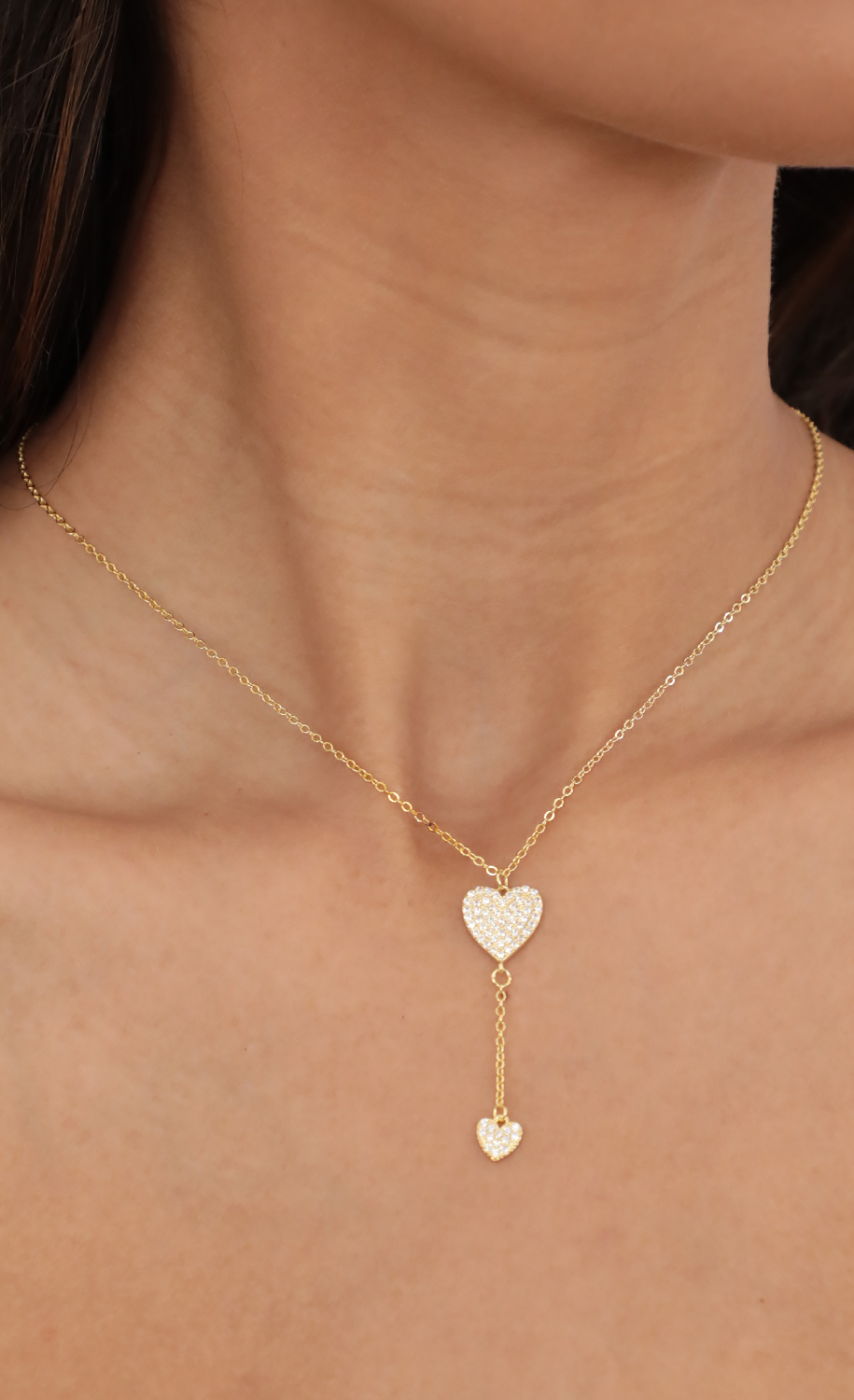 Suspended Pave Hearts Mini Lariat