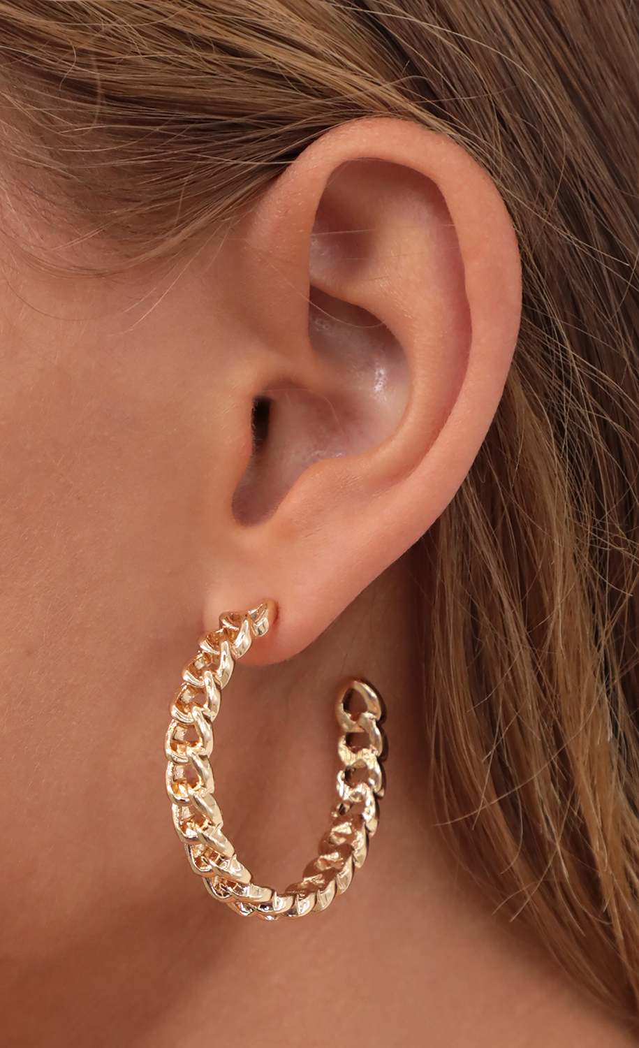 Large Cuban Chain Link Hoops in Gold