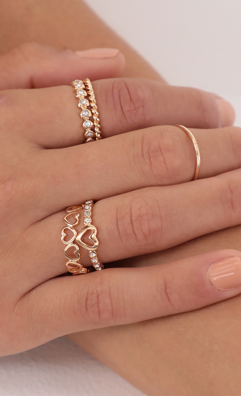 Pave Heart Ring Set in Gold