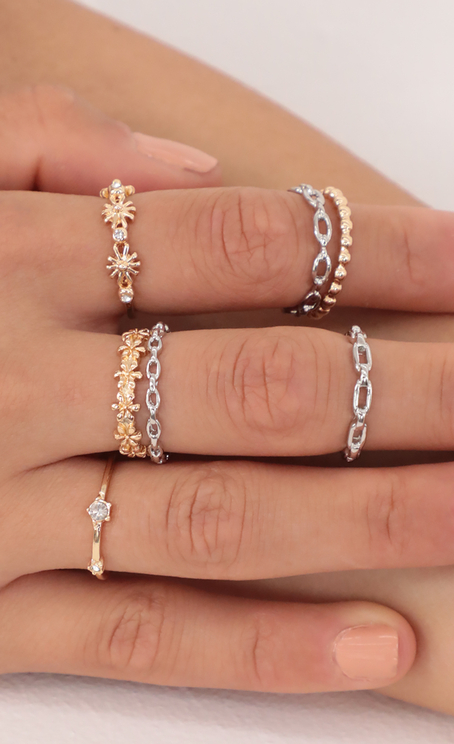 Daisy Gold And Silver Ring Set
