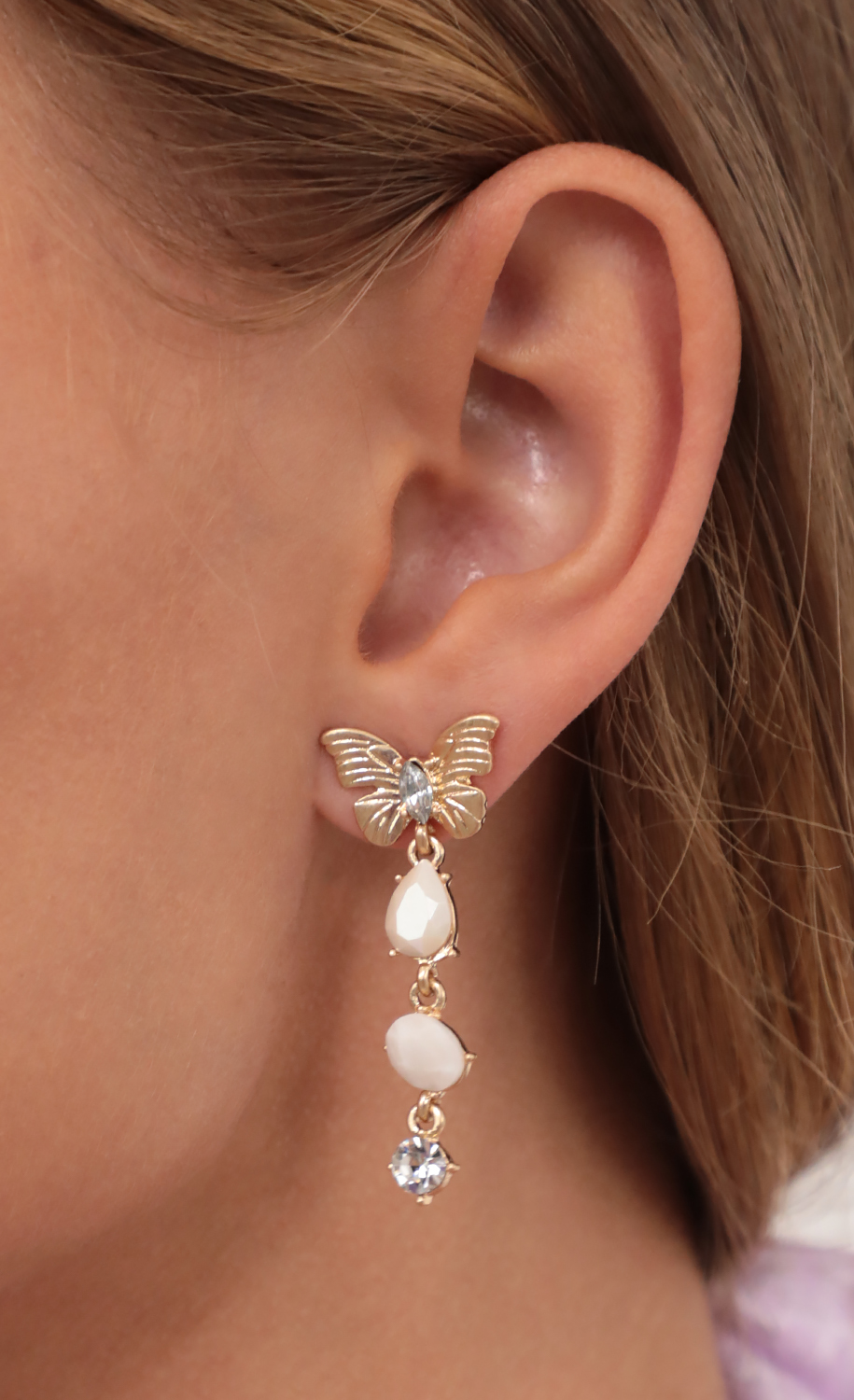 Butterfly Stud with Dangly Crystals