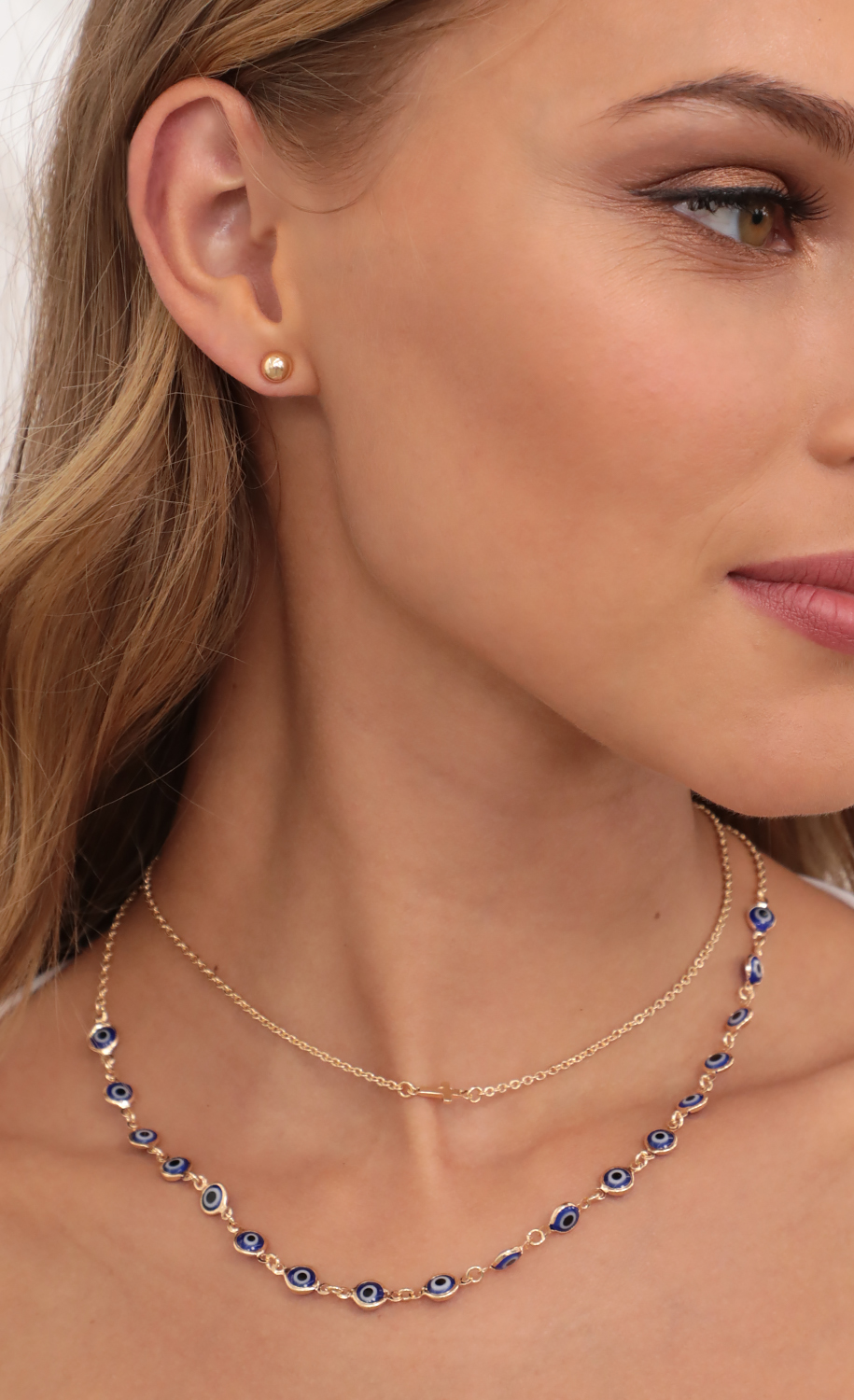 Blue Evil eye Necklace and Earring Set