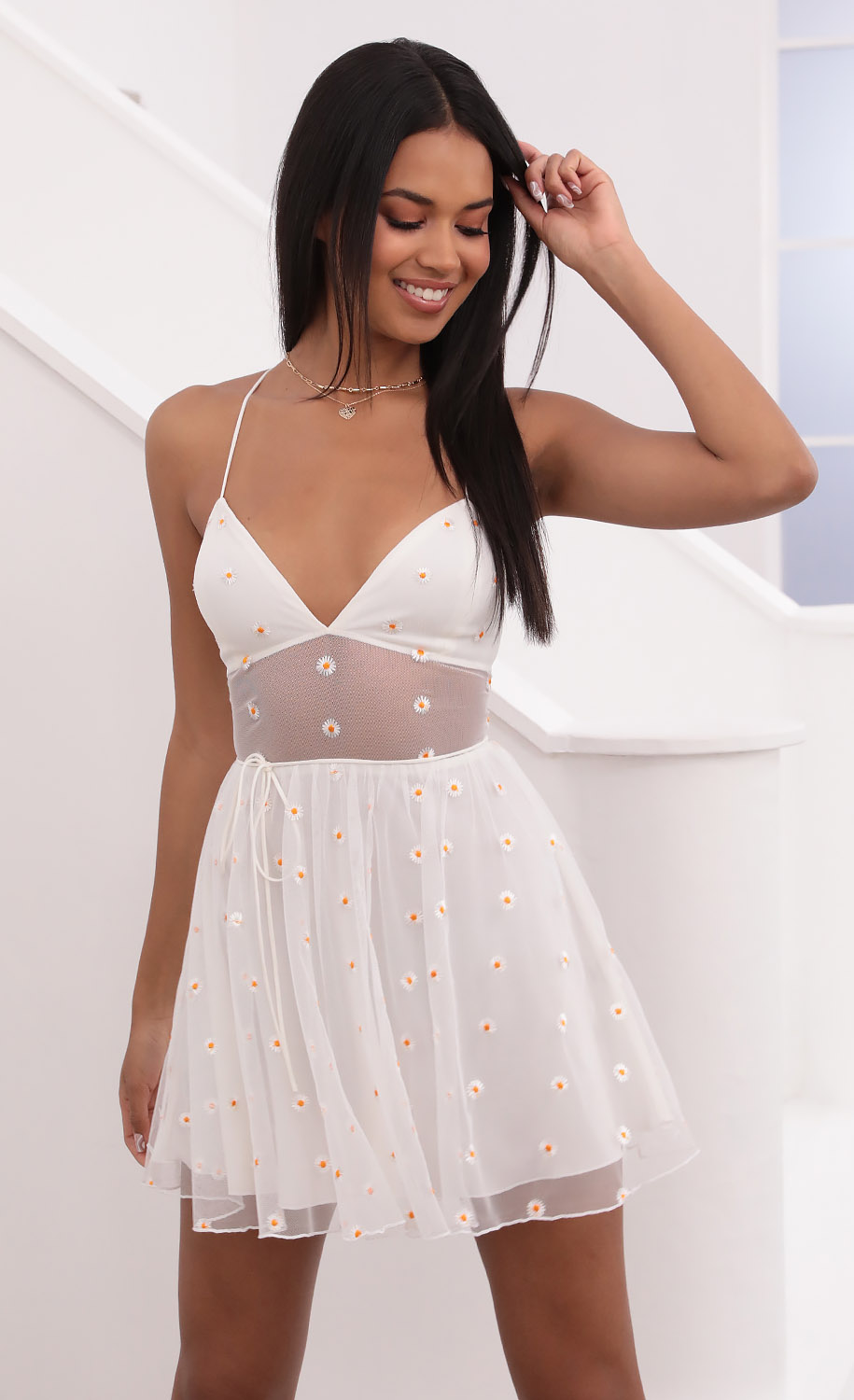 Daisy Mesh A-Line Dress in White