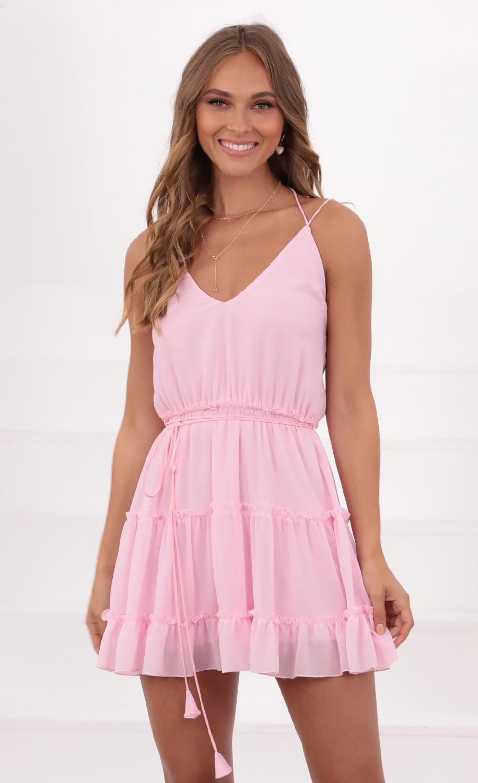 Ayumi Tassle V-Neck dress in Pink
