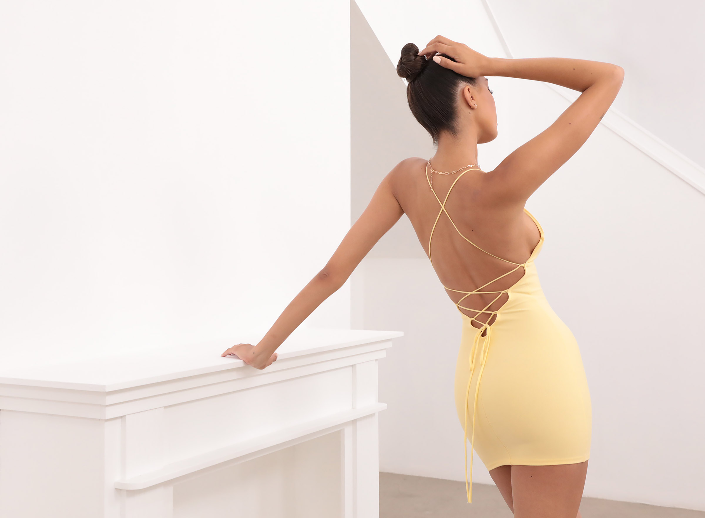 Lace Back Bodycon Dress In Yellow