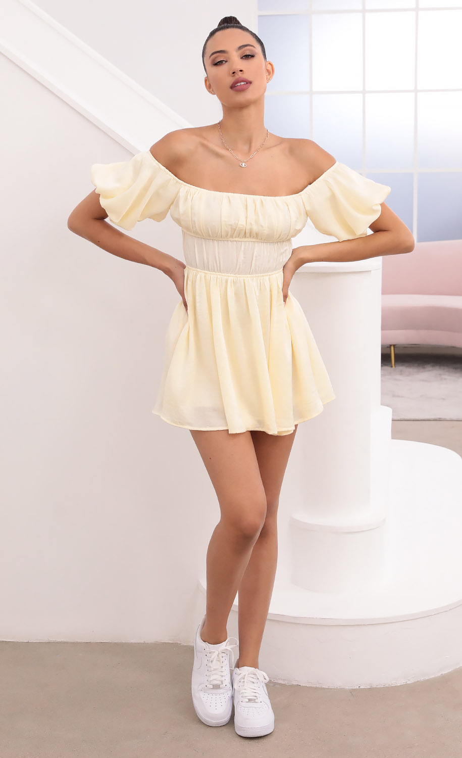Dorothy Off The Shoulder Dress in Pastel Yellow