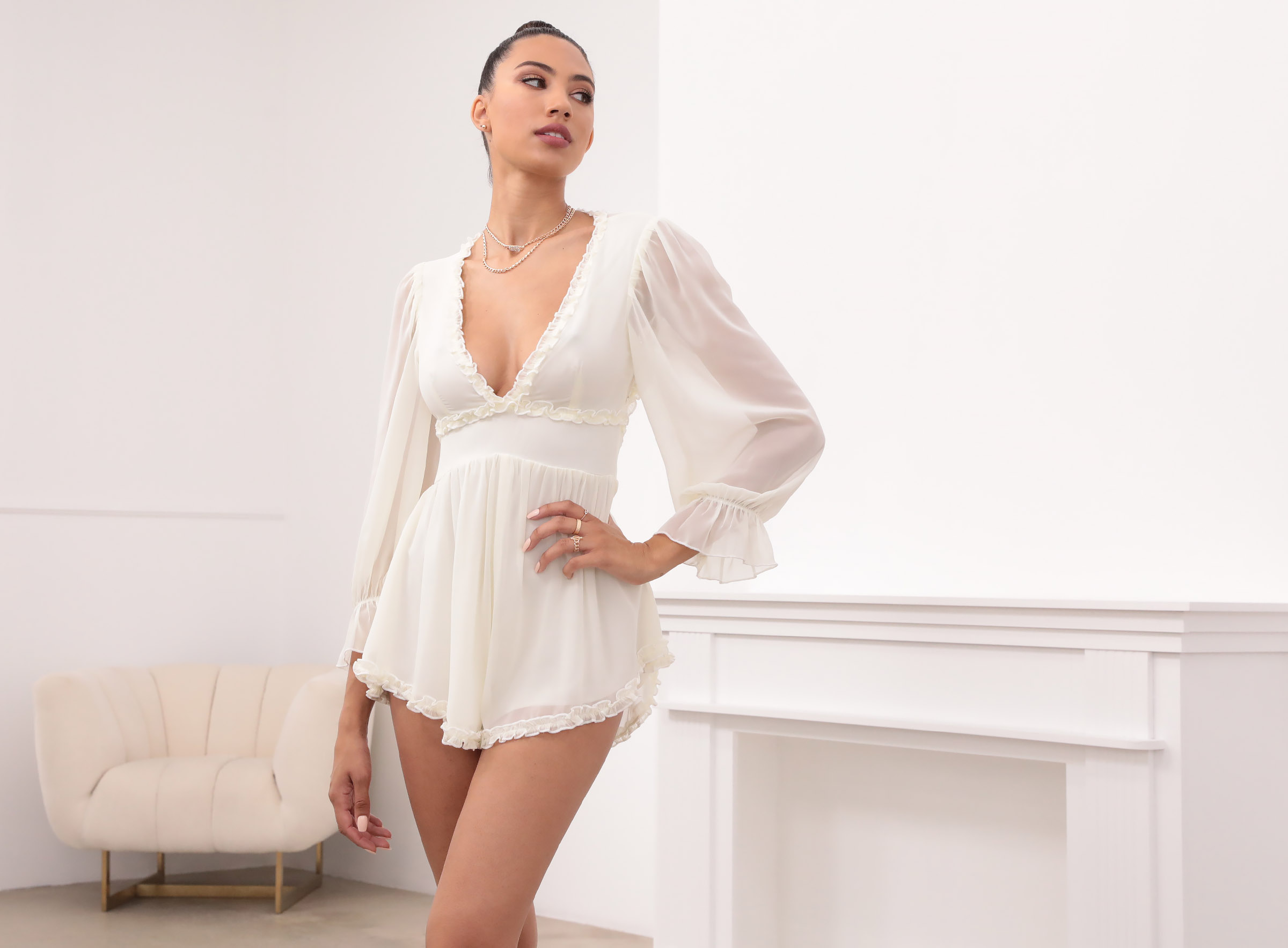 Bettina Ruched Ruffle Romper in Ivory