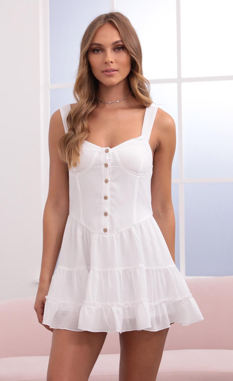 Tonia Bustier Skater Dress in White