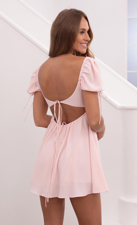 Leilani Crinkle Chiffon Babydoll Dress in Pastel Pink