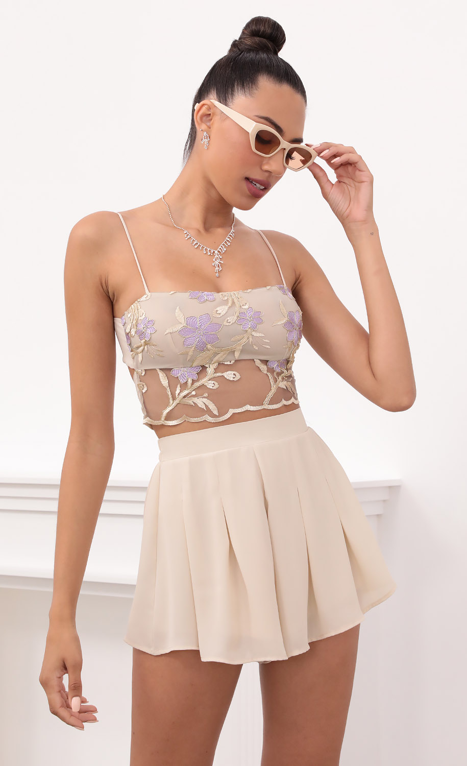 Tatum Two Piece Set In Beige and Gold Lace