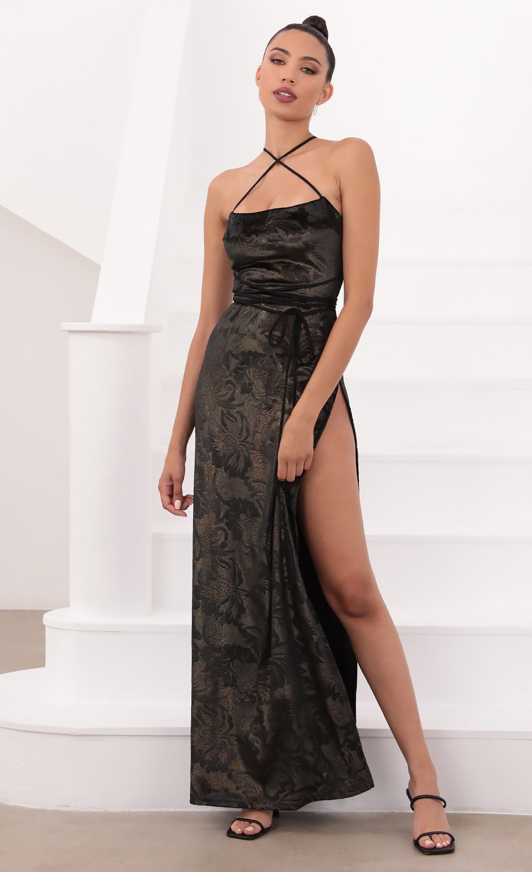 Tessa Luxe Velvet Maxi in Black and Gold Foil