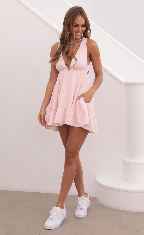 Anastasia Plunge V-neck Dress in Pink